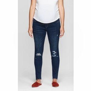 Isabel Maternity Skinny raw hem distressed jeans